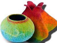 felted vessels, by art instructor Leslie Granbeck