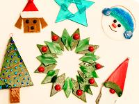 kiln filred glass holiday ornaments, Trisch Gardiner