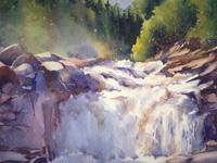 MistAtTheFalls Watercolor painting, artist Catherine Hearding