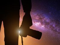 night photographer silhouette, photo Guitar Photographer/shutterstock